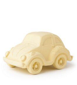 Bad speeltje auto (kever) geel - natuurlijk rubber