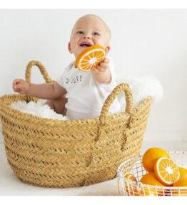 Bad en bijtspeeltje sinaasappel - natuurlijk rubber
