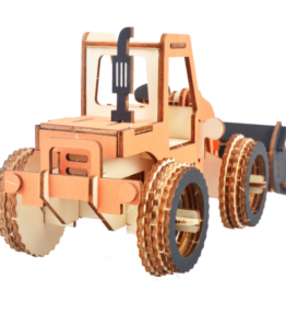 Bouwpakket hout voertuig - Bulldozer (kleur)