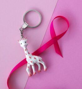 Pink Ribbon Sophie de giraf sleutelhanger